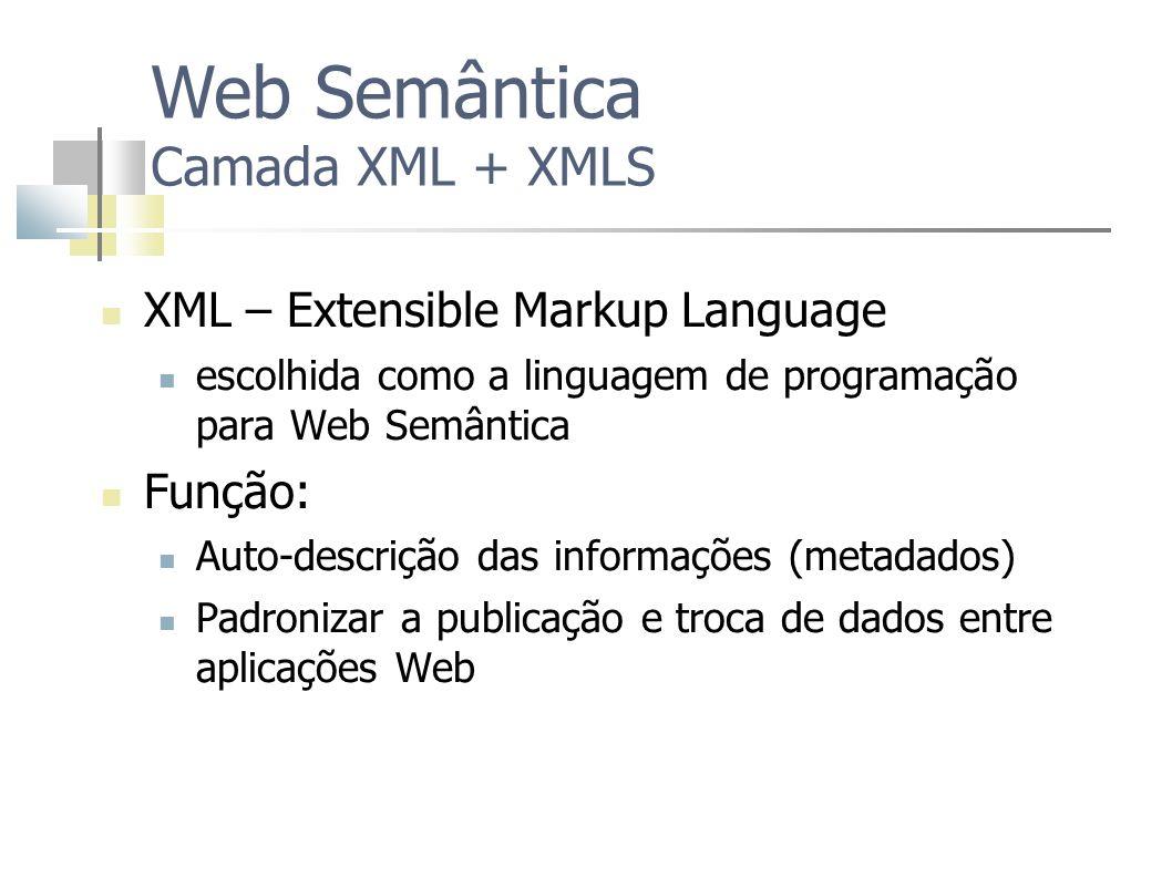 XML – Extensible Markup Language escolhida como a linguagem de programação para Web Semântica Função: Auto-descrição das informações (metadados) Padro