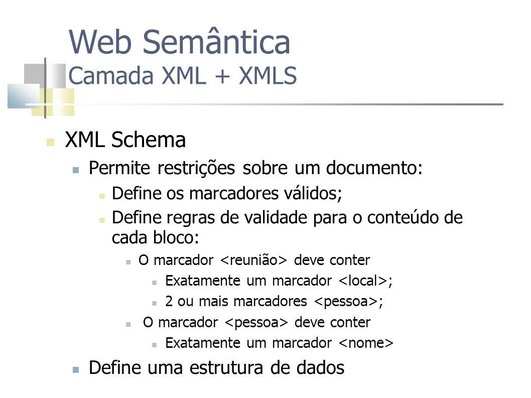 Web Semântica Camada XML + XMLS XML Schema Permite restrições sobre um documento: Define os marcadores válidos; Define regras de validade para o conte