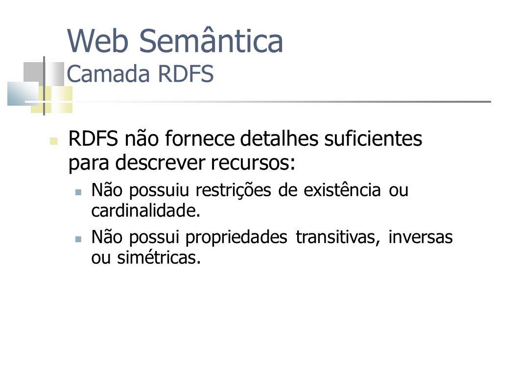 Web Semântica Camada RDFS RDFS não fornece detalhes suficientes para descrever recursos: Não possuiu restrições de existência ou cardinalidade. Não po