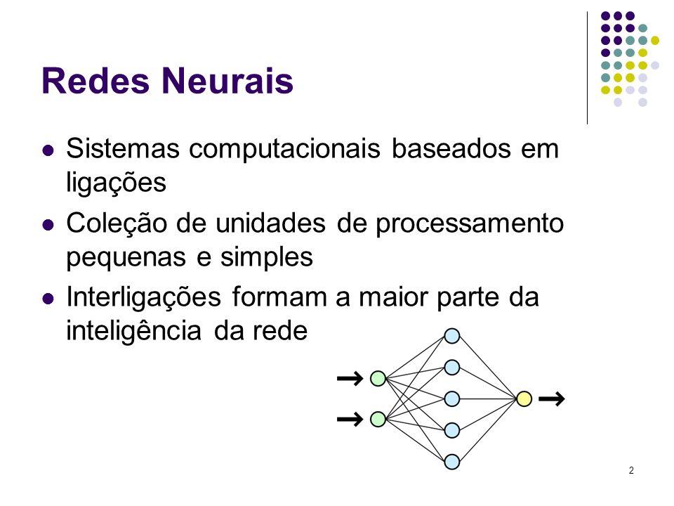 2 Redes Neurais Sistemas computacionais baseados em ligações Coleção de unidades de processamento pequenas e simples Interligações formam a maior part