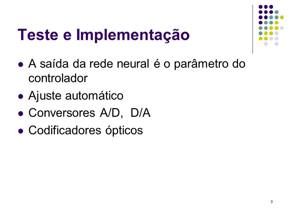 9 Teste e Implementação A saída da rede neural é o parâmetro do controlador Ajuste automático Conversores A/D, D/A Codificadores ópticos