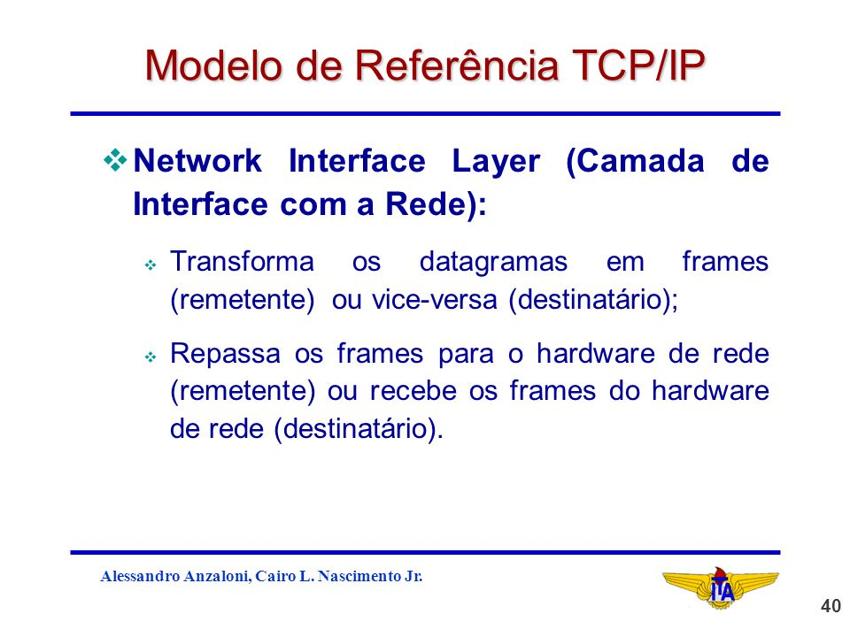 Alessandro Anzaloni, Cairo L. Nascimento Jr. 40 Modelo de Referência TCP/IP vNetwork Interface Layer (Camada de Interface com a Rede): v Transforma os