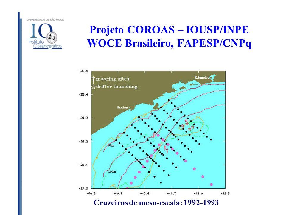 Projeto COROAS – IOUSP/INPE WOCE Brasileiro, FAPESP/CNPq Cruzeiros de meso-escala: 1992-1993