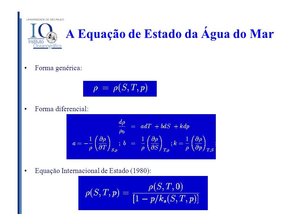 A Equação de Estado da Água do Mar Forma genérica: Forma diferencial: Equação Internacional de Estado (1980):