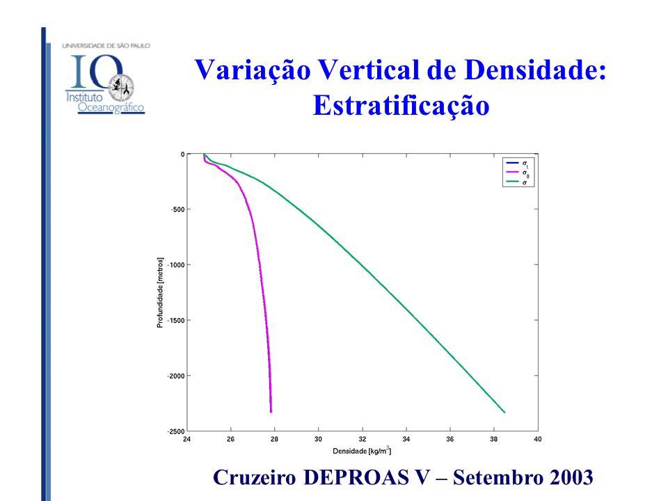 Variação Vertical de Densidade: Estratificação Cruzeiro DEPROAS V – Setembro 2003