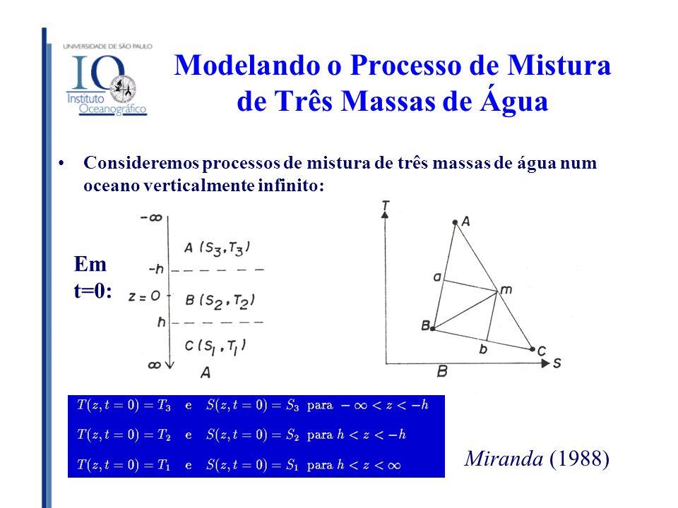 Modelando o Processo de Mistura de Três Massas de Água Consideremos processos de mistura de três massas de água num oceano verticalmente infinito: Mir