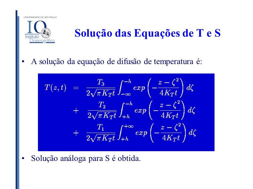 Solução das Equações de T e S A solução da equação de difusão de temperatura é: Solução análoga para S é obtida.