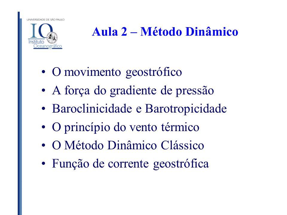 Aula 2 – Método Dinâmico O movimento geostrófico A força do gradiente de pressão Baroclinicidade e Barotropicidade O princípio do vento térmico O Méto