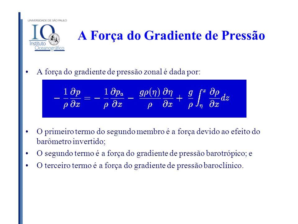 A Força do Gradiente de Pressão A força do gradiente de pressão zonal é dada por: O primeiro termo do segundo membro é a força devido ao efeito do bar
