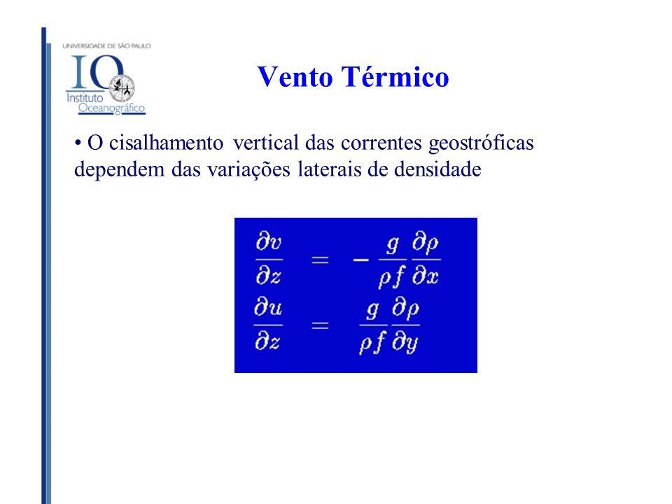 Vento Térmico O cisalhamento vertical das correntes geostróficas dependem das variações laterais de densidade