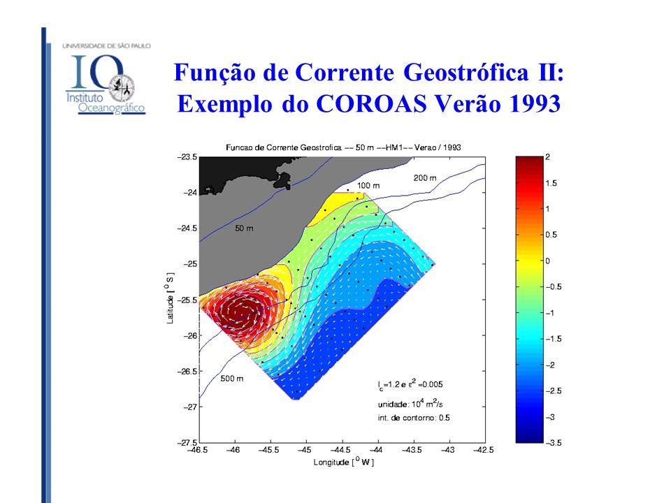 Função de Corrente Geostrófica II: Exemplo do COROAS Verão 1993