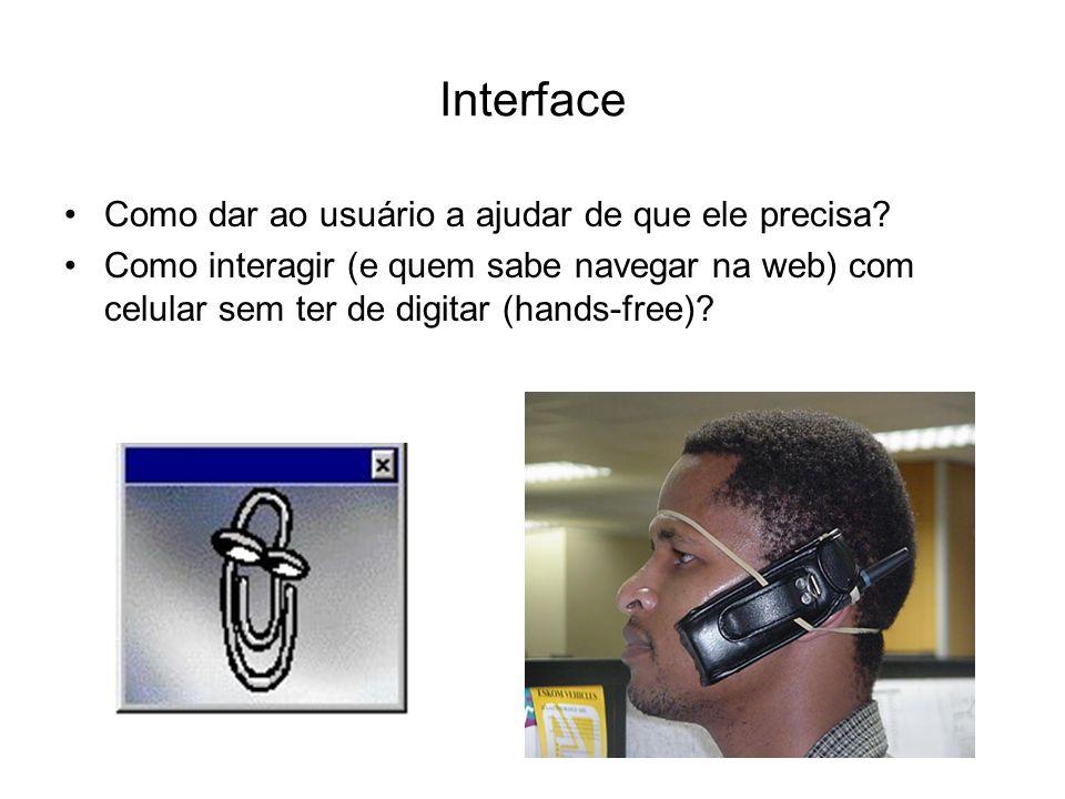 Interface Como dar ao usuário a ajudar de que ele precisa? Como interagir (e quem sabe navegar na web) com celular sem ter de digitar (hands-free)?