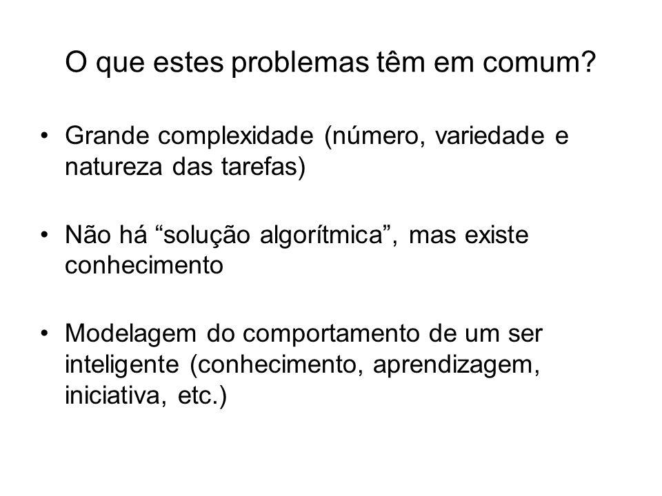 O que estes problemas têm em comum? Grande complexidade (número, variedade e natureza das tarefas) Não há solução algorítmica, mas existe conhecimento