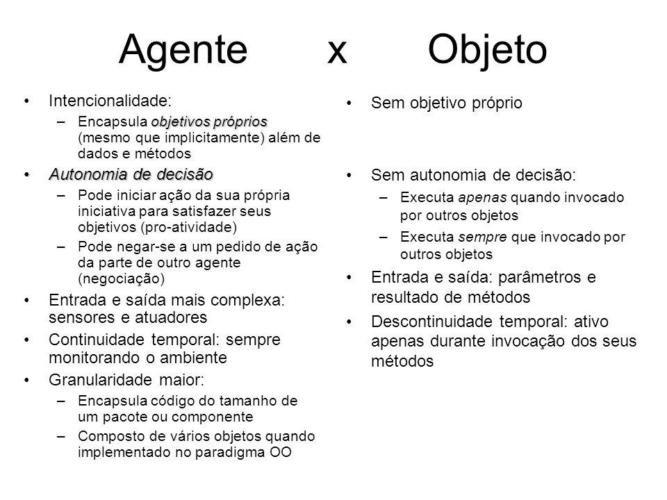 Agente x Objeto Intencionalidade: objetivos próprios –Encapsula objetivos próprios (mesmo que implicitamente) além de dados e métodos Autonomia de dec