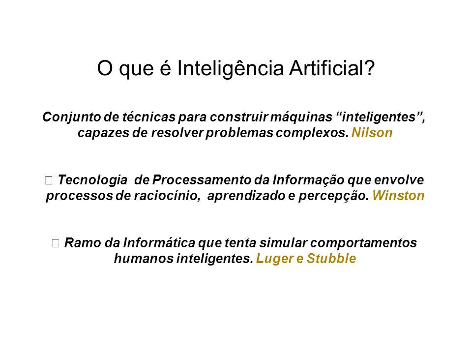 """Conjunto de técnicas para construir máquinas inteligentes, capazes de resolver problemas complexos. Nilson """" Tecnologia de Processamento da Informação"""