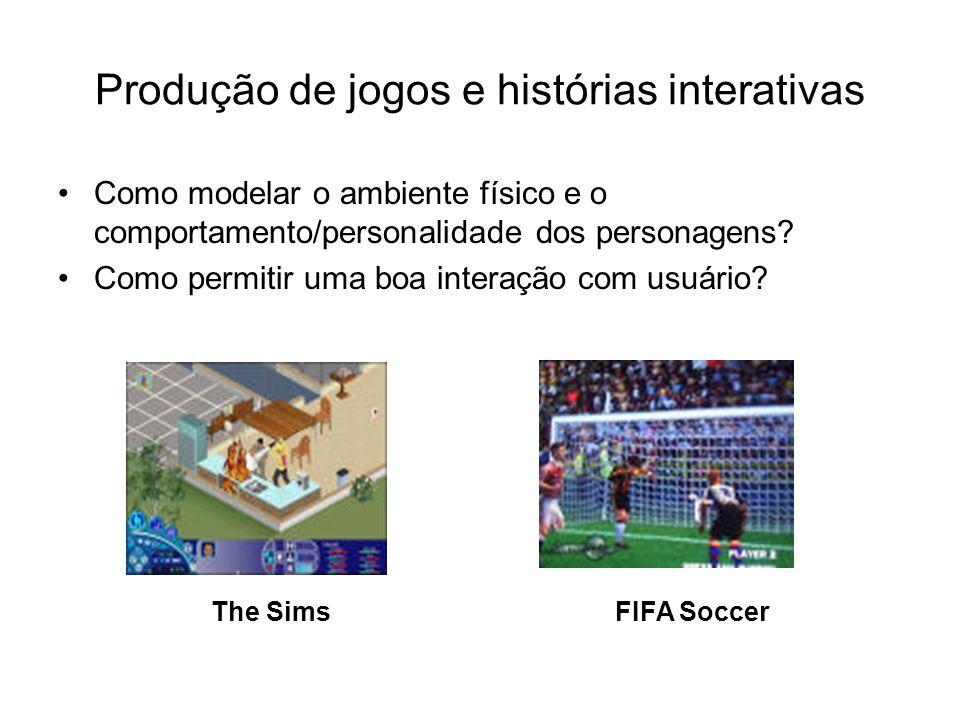 FIFA SoccerThe Sims Produção de jogos e histórias interativas Como modelar o ambiente físico e o comportamento/personalidade dos personagens? Como per
