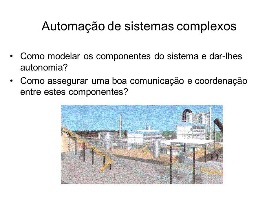Automação de sistemas complexos Como modelar os componentes do sistema e dar-lhes autonomia? Como assegurar uma boa comunicação e coordenação entre es