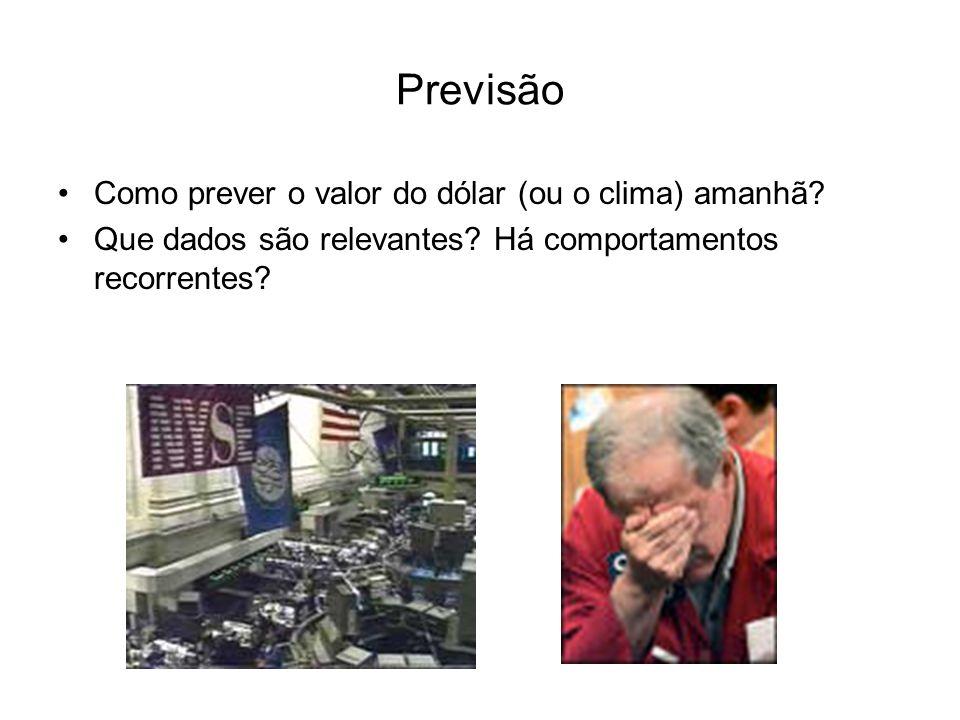 Previsão Como prever o valor do dólar (ou o clima) amanhã? Que dados são relevantes? Há comportamentos recorrentes?