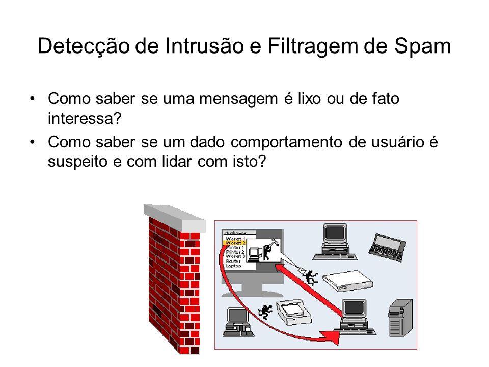 Detecção de Intrusão e Filtragem de Spam Como saber se uma mensagem é lixo ou de fato interessa? Como saber se um dado comportamento de usuário é susp