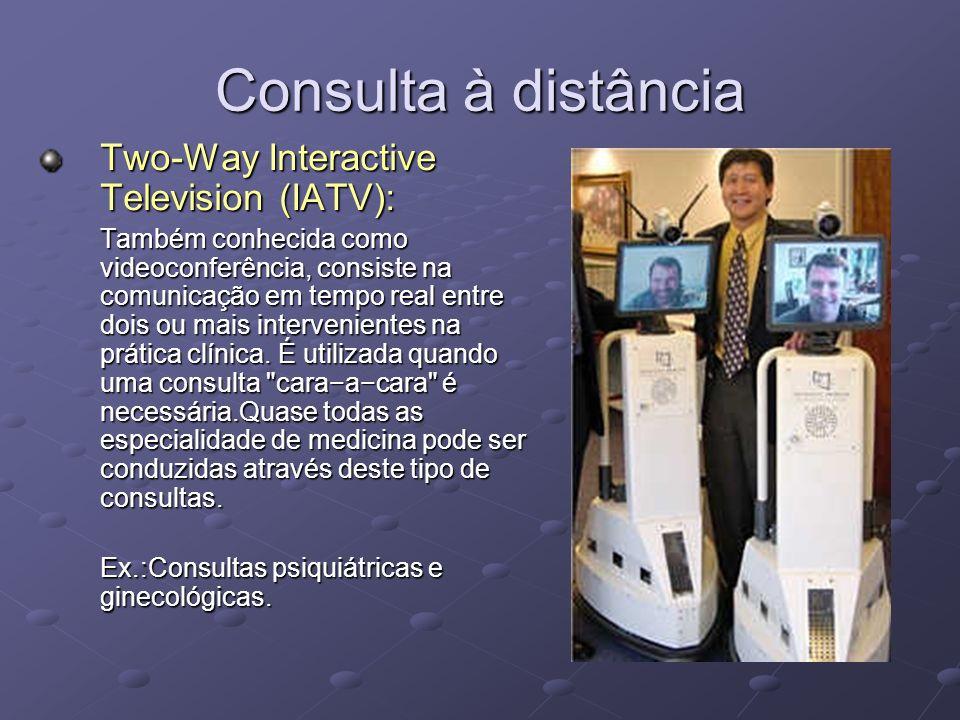 Consulta à distância Two-Way Interactive Television (IATV): Também conhecida como videoconferência, consiste na comunicação em tempo real entre dois o