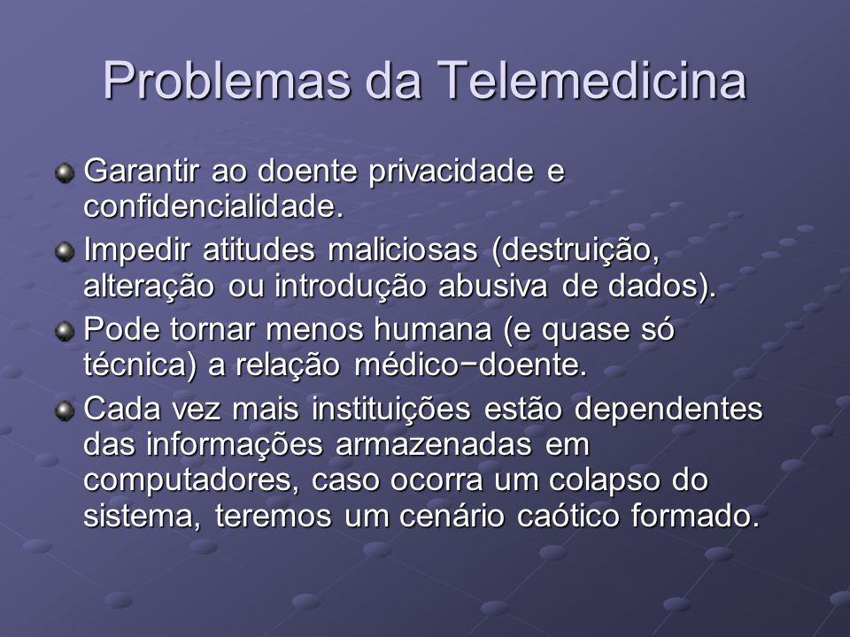 Problemas da Telemedicina Garantir ao doente privacidade e confidencialidade. Impedir atitudes maliciosas (destruição, alteração ou introdução abusiva