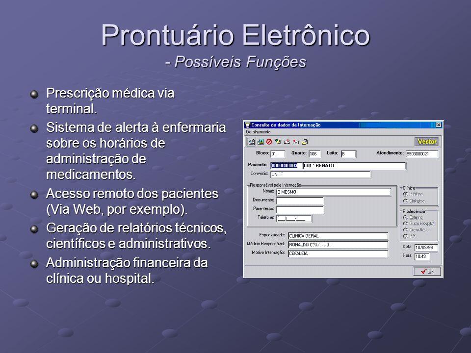 Prontuário Eletrônico - Possíveis Funções Prescrição médica via terminal. Sistema de alerta à enfermaria sobre os horários de administração de medicam