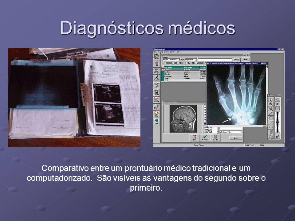 Diagnósticos médicos Comparativo entre um prontuário médico tradicional e um computadorizado. São visíveis as vantagens do segundo sobre o primeiro.