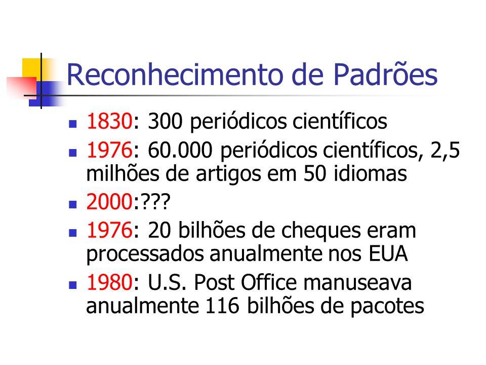 Reconhecimento de Padrões 1830: 300 periódicos científicos 1976: 60.000 periódicos científicos, 2,5 milhões de artigos em 50 idiomas 2000:??? 1976: 20