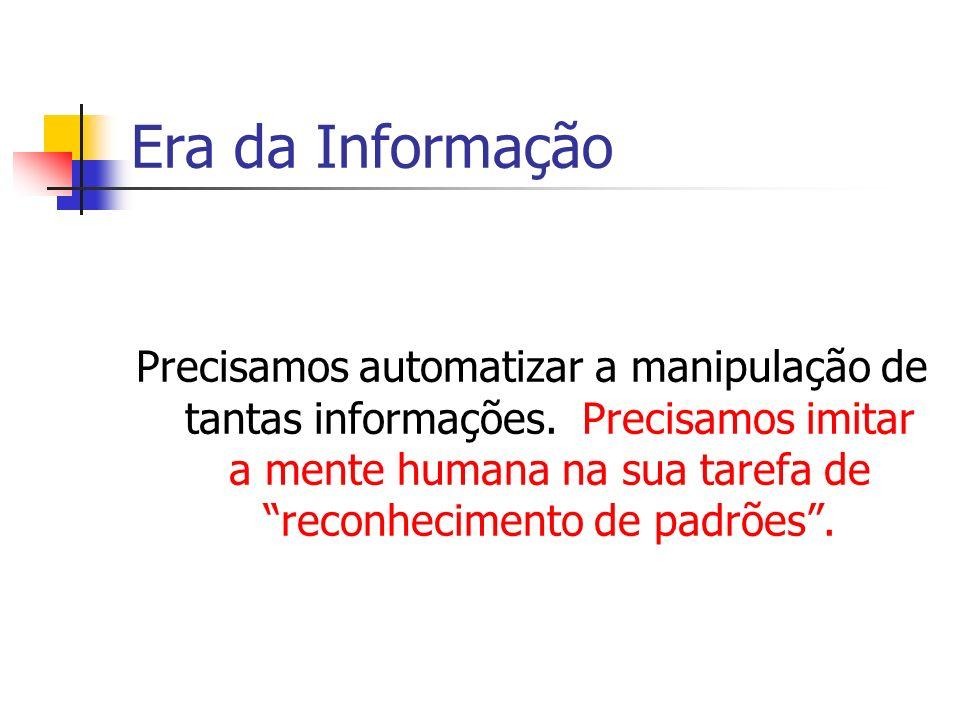 Era da Informação Precisamos automatizar a manipulação de tantas informações. Precisamos imitar a mente humana na sua tarefa de reconhecimento de padr