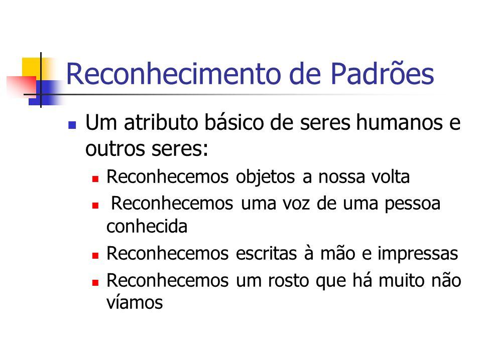 Reconhecimento de Padrões Um atributo básico de seres humanos e outros seres: Reconhecemos objetos a nossa volta Reconhecemos uma voz de uma pessoa co