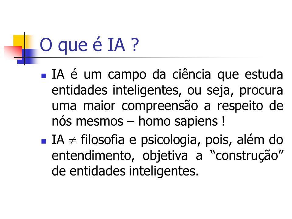 Inteligência Artificial Agente Inteligente perceber, entender, inferir e manipular um mundo complicado!