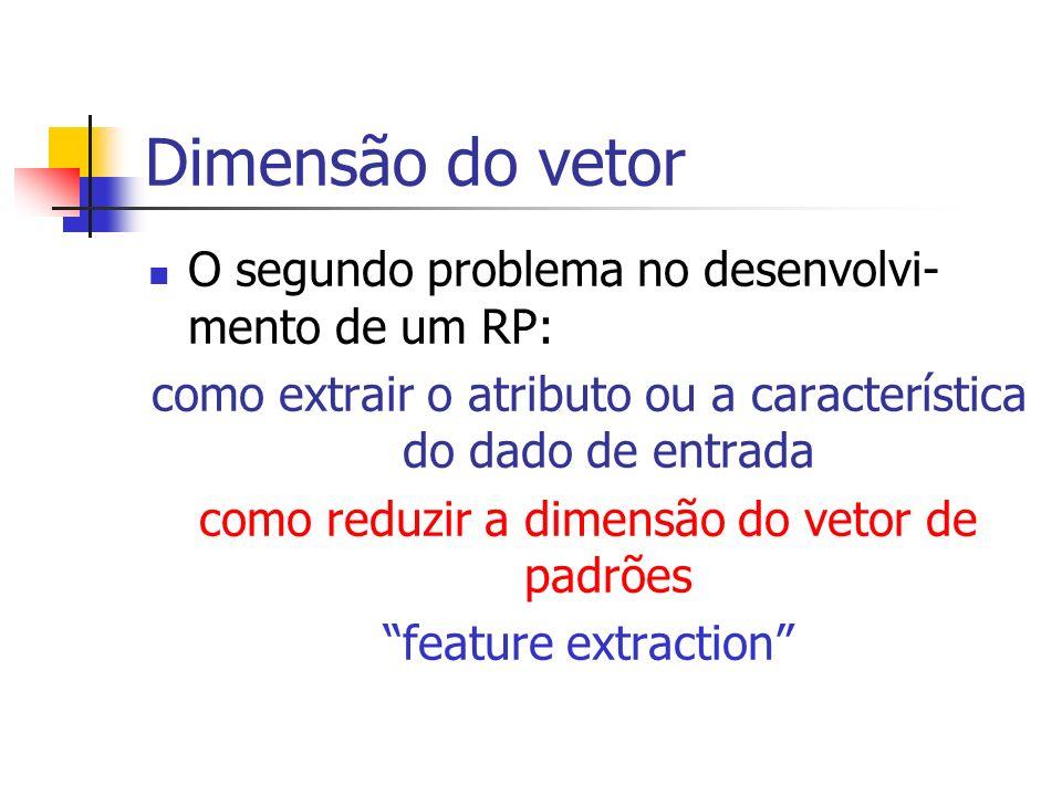 Dimensão do vetor O segundo problema no desenvolvi- mento de um RP: como extrair o atributo ou a característica do dado de entrada como reduzir a dime