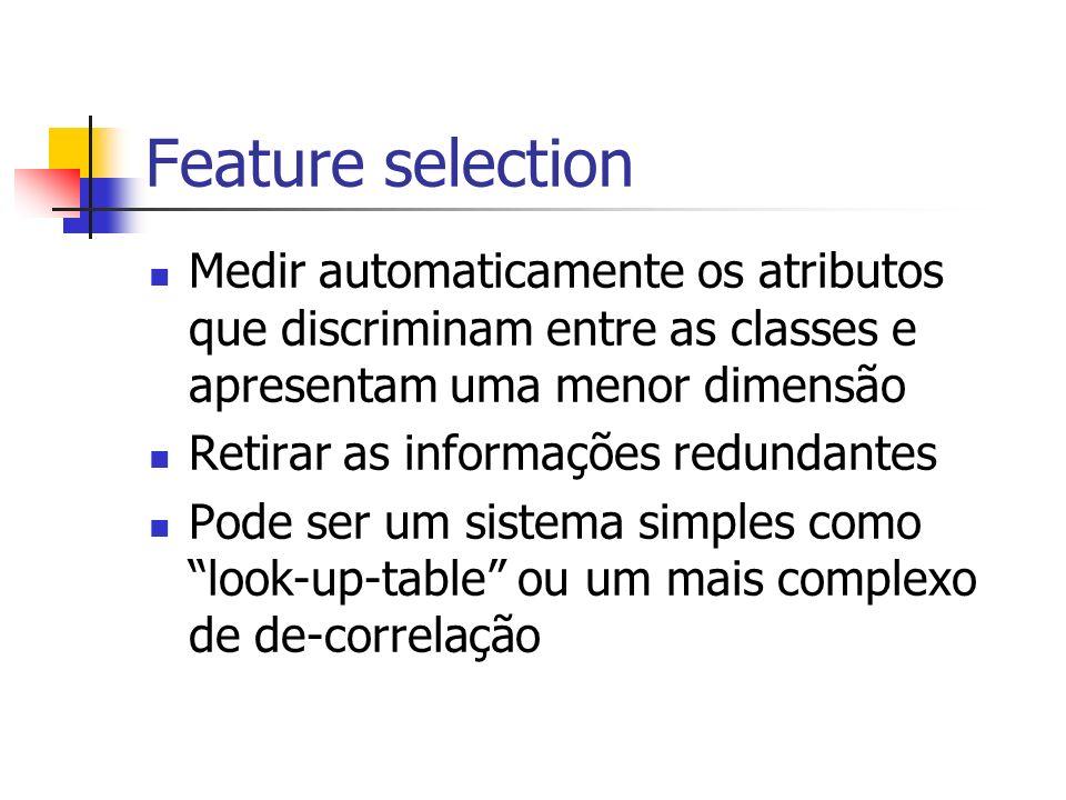 Feature selection Medir automaticamente os atributos que discriminam entre as classes e apresentam uma menor dimensão Retirar as informações redundant