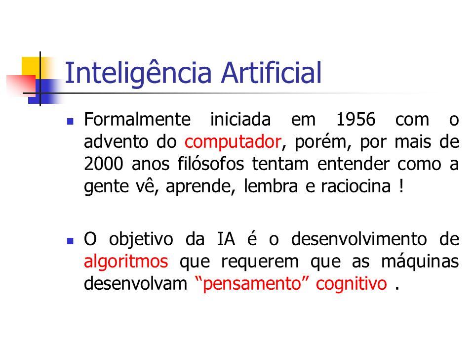 Inteligência Artificial Formalmente iniciada em 1956 com o advento do computador, porém, por mais de 2000 anos filósofos tentam entender como a gente