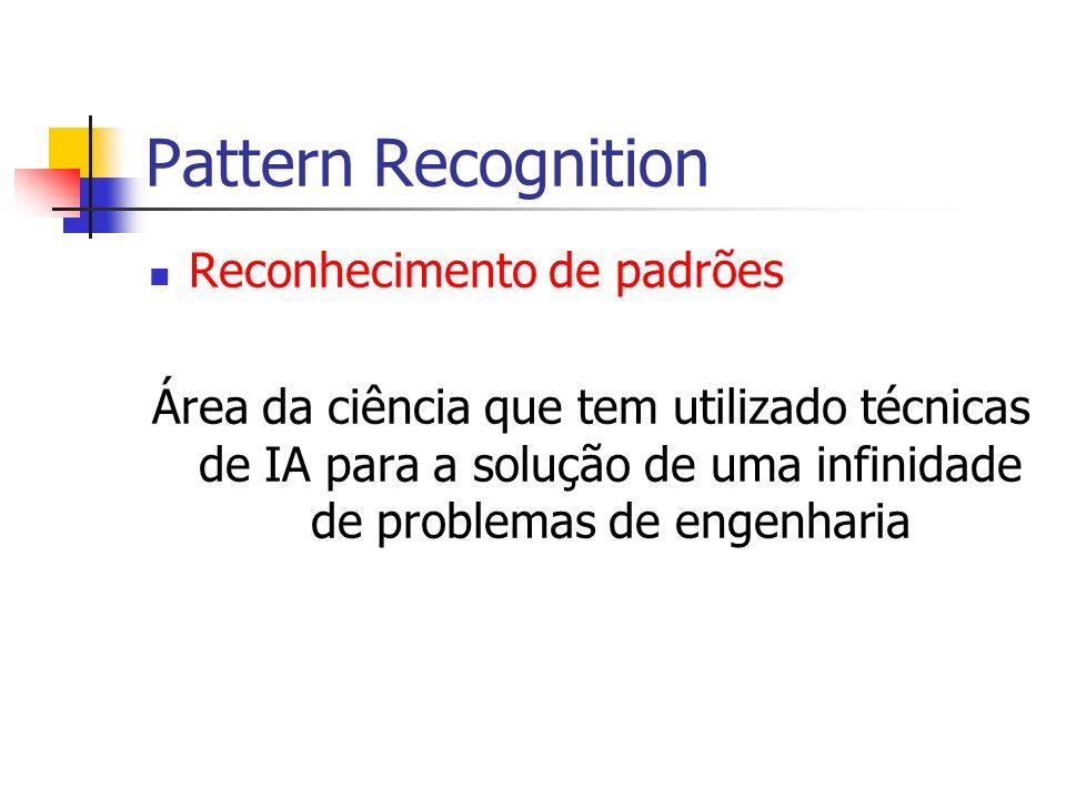 Pattern Recognition Reconhecimento de padrões Área da ciência que tem utilizado técnicas de IA para a solução de uma infinidade de problemas de engenh