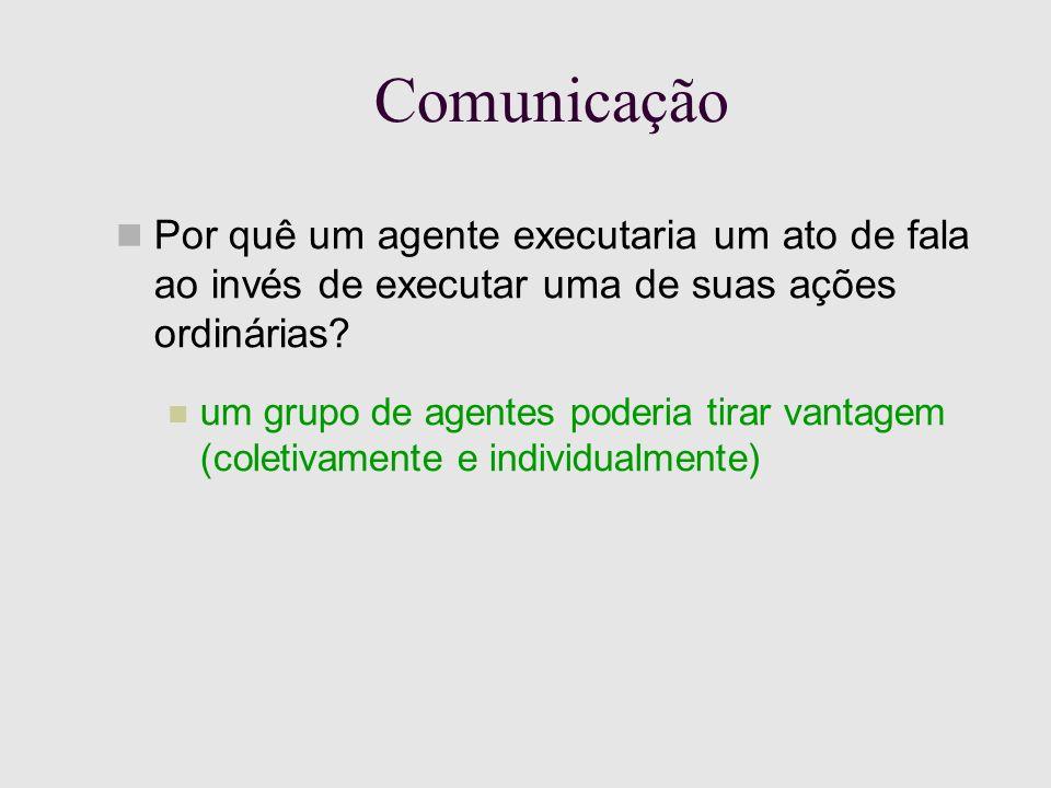 Comunicação Por quê um agente executaria um ato de fala ao invés de executar uma de suas ações ordinárias.