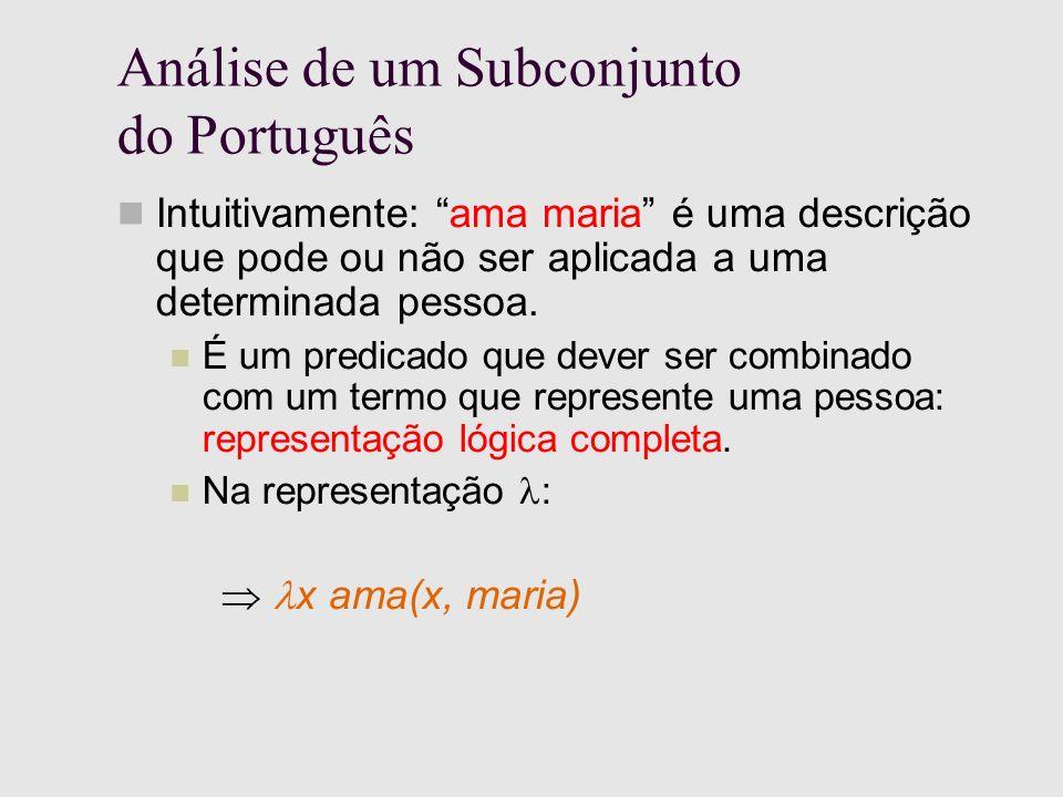 Análise de um Subconjunto do Português Intuitivamente: ama maria é uma descrição que pode ou não ser aplicada a uma determinada pessoa.