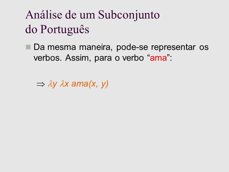 Análise de um Subconjunto do Português Da mesma maneira, pode-se representar os verbos.