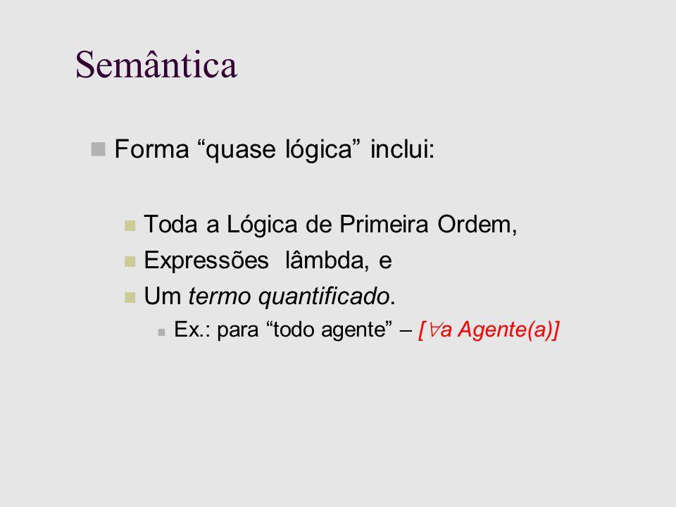 Semântica Forma quase lógica inclui: Toda a Lógica de Primeira Ordem, Expressões lâmbda, e Um termo quantificado.