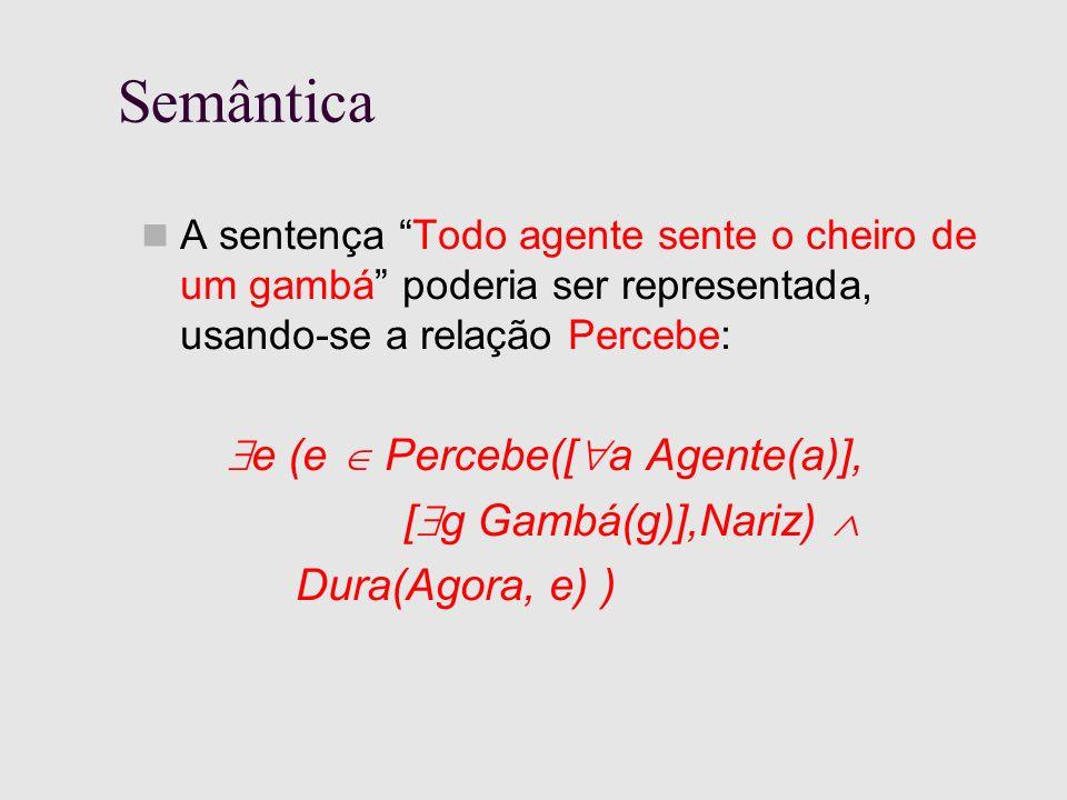Semântica A sentença Todo agente sente o cheiro de um gambá poderia ser representada, usando-se a relação Percebe: e (e Percebe([ a Agente(a)], [ g Gambá(g)],Nariz) Dura(Agora, e) )