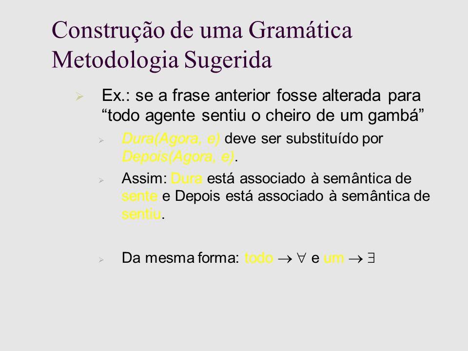 Construção de uma Gramática Metodologia Sugerida Ex.: se a frase anterior fosse alterada para todo agente sentiu o cheiro de um gambá Dura(Agora, e) deve ser substituído por Depois(Agora, e).