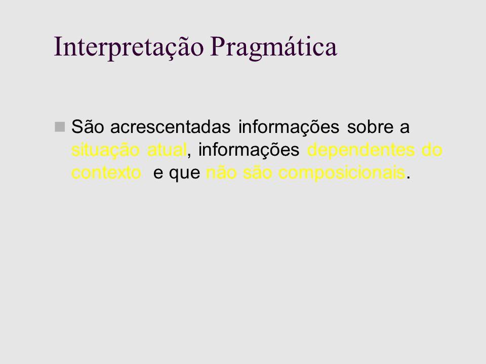 Interpretação Pragmática São acrescentadas informações sobre a situação atual, informações dependentes do contexto e que não são composicionais.