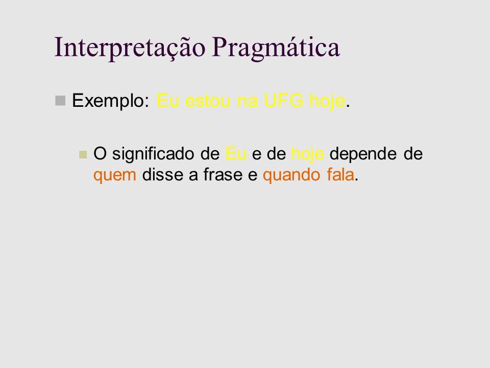 Interpretação Pragmática Exemplo: Eu estou na UFG hoje.