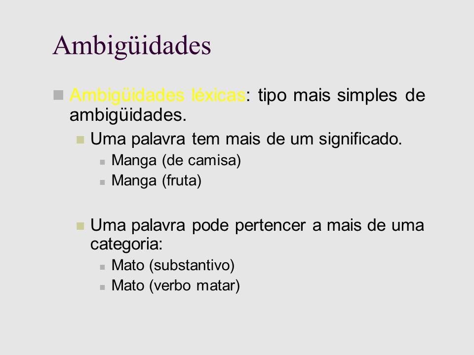 Ambigüidades Ambigüidades léxicas: tipo mais simples de ambigüidades.