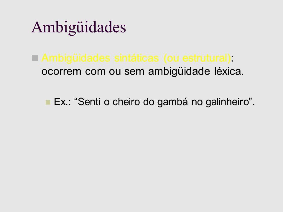 Ambigüidades Ambigüidades sintáticas (ou estrutural): ocorrem com ou sem ambigüidade léxica.