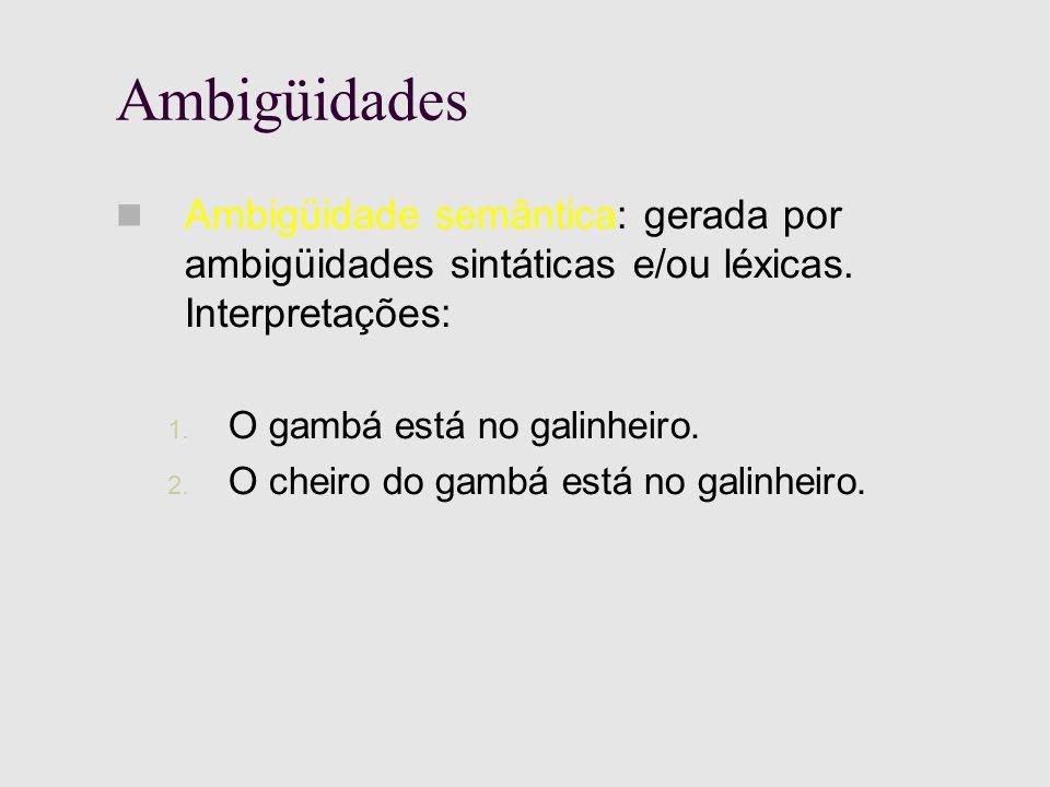 Ambigüidades Ambigüidade semântica: gerada por ambigüidades sintáticas e/ou léxicas.