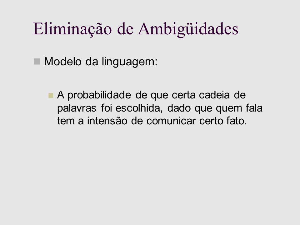 Eliminação de Ambigüidades Modelo da linguagem: A probabilidade de que certa cadeia de palavras foi escolhida, dado que quem fala tem a intensão de comunicar certo fato.