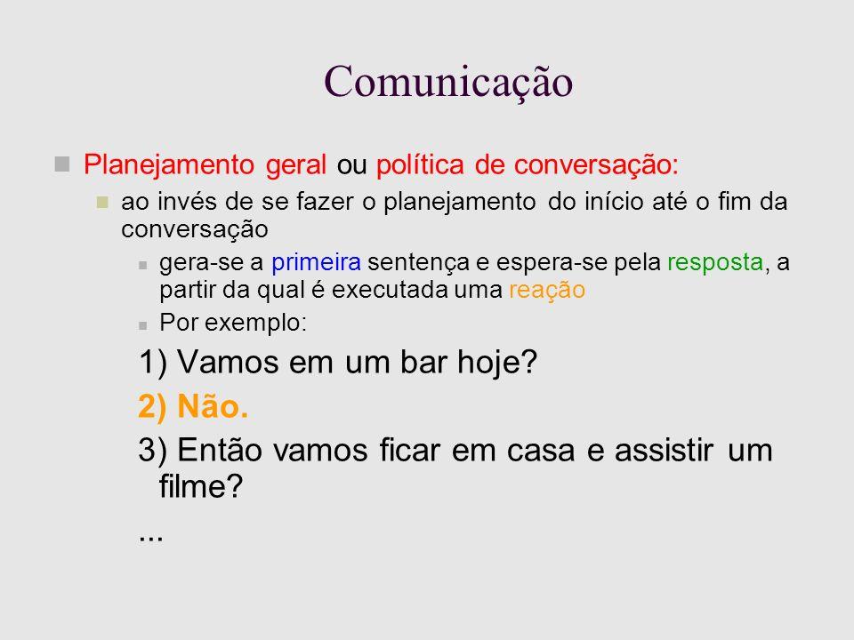 Comunicação Planejamento geral ou política de conversação: ao invés de se fazer o planejamento do início até o fim da conversação gera-se a primeira sentença e espera-se pela resposta, a partir da qual é executada uma reação Por exemplo: 1) Vamos em um bar hoje.