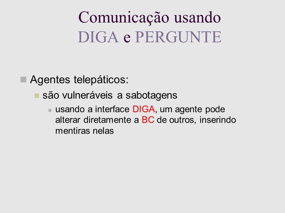 Comunicação usando DIGA e PERGUNTE Agentes telepáticos: são vulneráveis a sabotagens usando a interface DIGA, um agente pode alterar diretamente a BC de outros, inserindo mentiras nelas