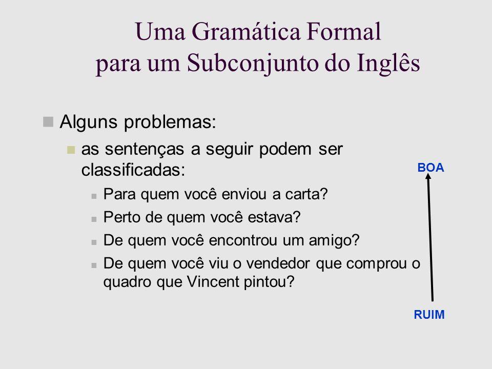 Uma Gramática Formal para um Subconjunto do Inglês Alguns problemas: as sentenças a seguir podem ser classificadas: Para quem você enviou a carta.